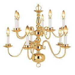 Woodbridge Lighting Williamsburg 10-light Polished Bronze Chandelier