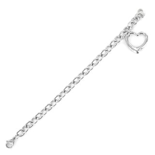 Elya Designs Women's Stainless Steel High-polish Heart-charm Chain Bracelet
