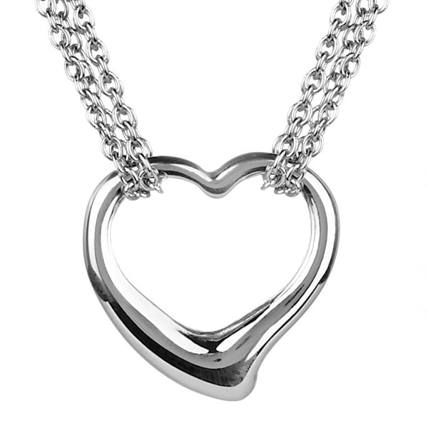 ELYA High-polish Stainless Steel Heart Pendant and Rolo Chain Necklace