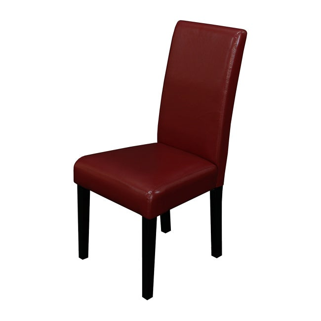 Villa Faux Leather Red Dining Chairs Set of 2 Chair Home