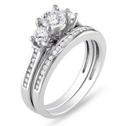 14k White Gold 1 CT TDW Round Diamond Bridal Ring Set (G-H, I1-I2)