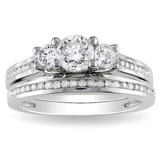 Miadora 14k White Gold 1 CT TDW Round Diamond Bridal Ring Set (G-H, I1-I2)