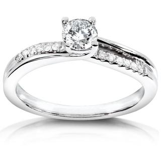 Annello 14k White Gold Twisted Diamond Engagement Ring (H-I, I1-I2)