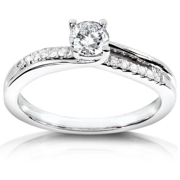 Annello 14k White Gold Twisted Diamond Engagement Ring (H-I, I1-I2)
