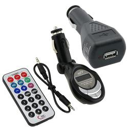 Black Two-piece FM Transmitter/Charger for Media/MP3 Players