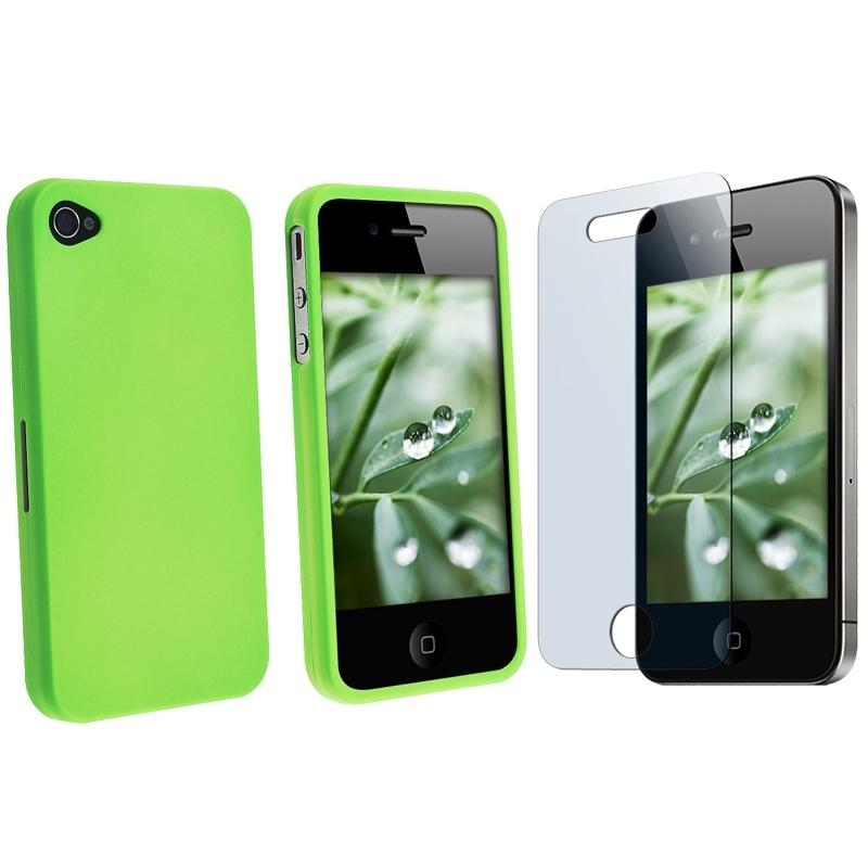 Rubber-Coated Light Green Case/Screen Protector for Apple iPhone 4