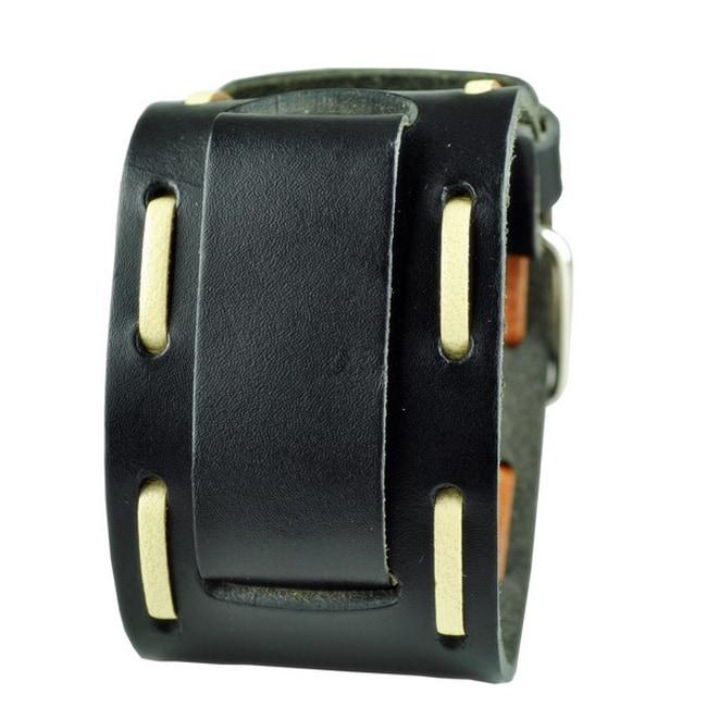 Nemesis Black Wide Stitch Leather Cuff Wrist Watch Band