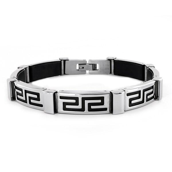 West Coast Jewelry Stainless Steel Greek Pattern Bracelet