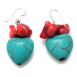 Reconstructed Turquoise and Red Coral Lovely Heart Earrings (Thailand)