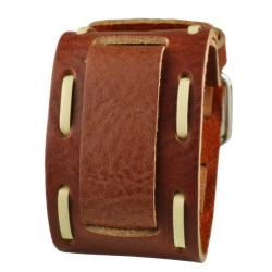 Nemesis Brown Wide Stitch Leather Cuff Wrist Watch Band