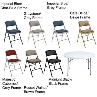 NPS Lightweight Steel 48-inch Round Table and Four Folding Chairs Set