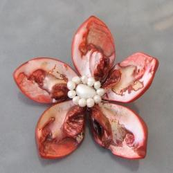 Dyed Red Mother of Pearl and Pearls Floral Pin (4-9 mm) (Thailand)
