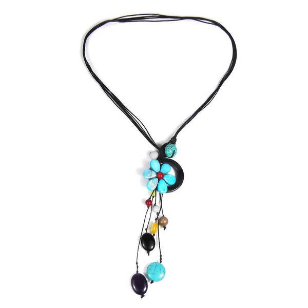 Handmade Cotton Rope Pretty Drop Cluster Multi-gemstone Necklace (Thailand) 8189753