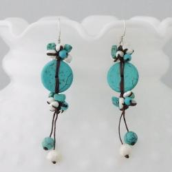 Cotton and Silver Turquoise and Pearl Earrings (4-7 mm) (Thailand)