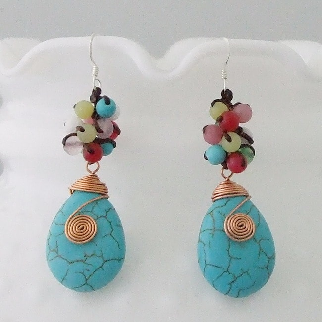 Copper Colorful Wrap Multi-gemstone Earrings (Thailand)