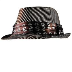H2W Men's Brown/White Striped Fedora Hat