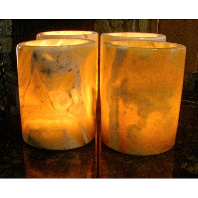 Set of 4 Alabaster Pharos Candle Votives (Egypt)