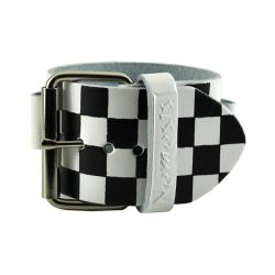 Nemesis Checkered White Leather Watch Band