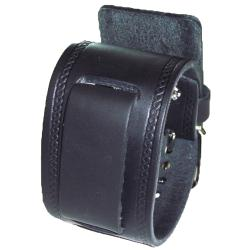 Nemesis Medium Black Leather Watch Band with Embossed Strip
