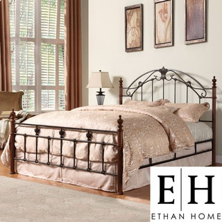 ETHAN HOME Newcastle Graceful Scroll Bronze Iron King-size Poster Bed