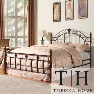 TRIBECCA HOME Newcastle Graceful Scroll Bronze Iron King-size Poster Bed