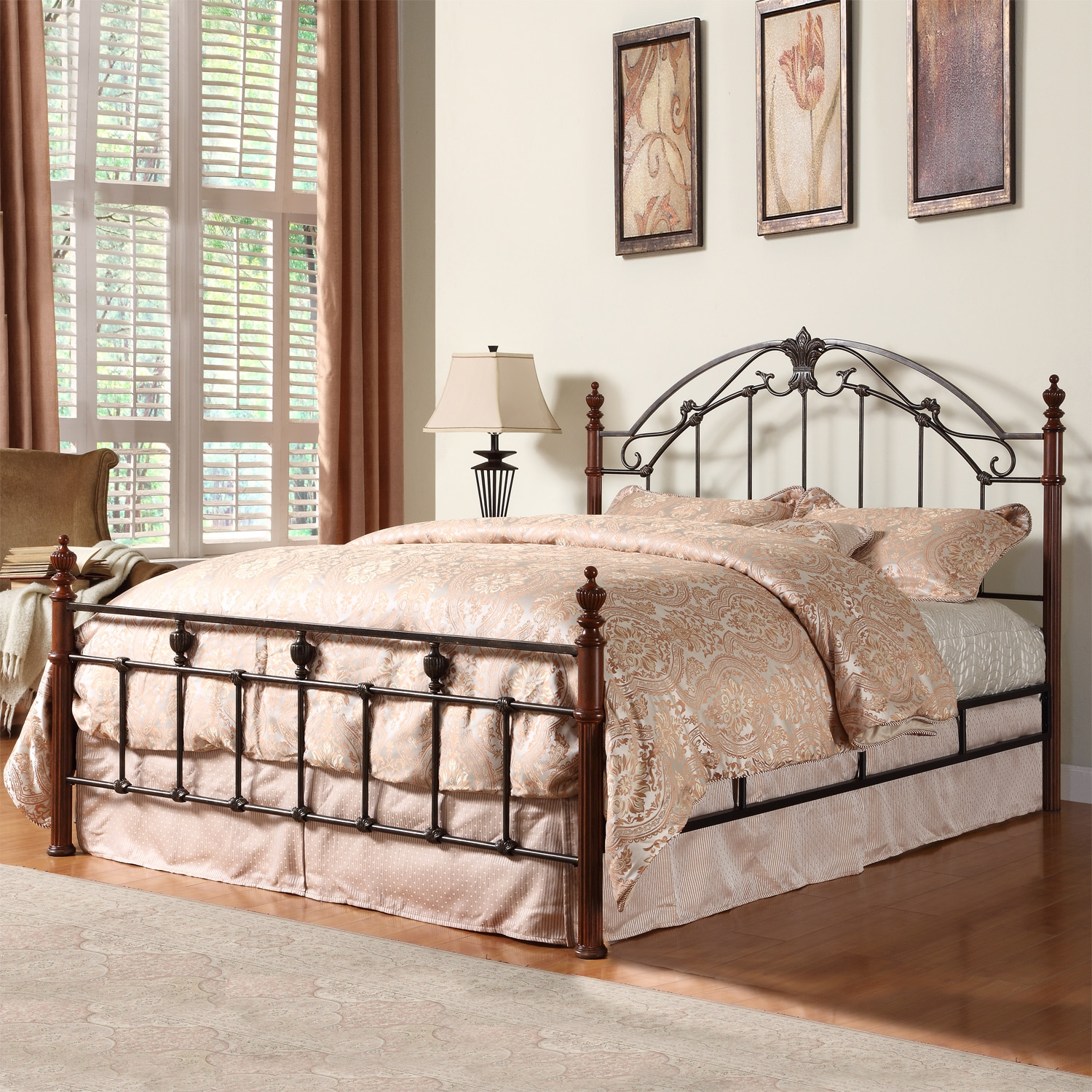 Scroll Bronze Iron Poster Wood King Size Bed Modern