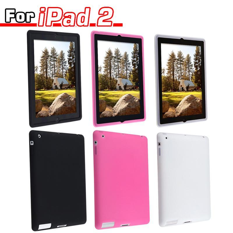Three-piece Silicone Case set for Apple iPad 2 (Black/White/Pink)