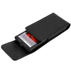 Black Leather Phone Case with Magnetic Top Flap