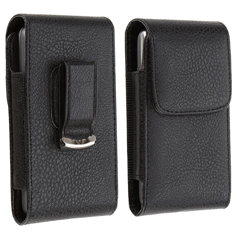 INSTEN Black Synthetic Leather Phone Case Cover with Magnetic Top Flap