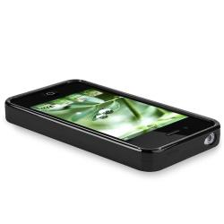 Glossy Black TPU Rubber Case for Apple iPhone 4