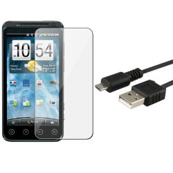 Screen Protector/ Retractable USB Cable for HTC EVO 3D