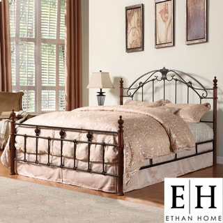 ETHAN HOME Newcastle Graceful Scroll Bronze Iron Queen-size Poster Bed