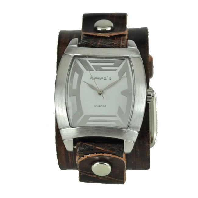 Nemesis Men's Rugged Brown Leather Cuff Watch