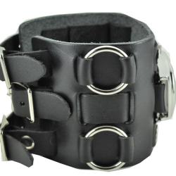 Nemesis Men's Wide Sunrise Black Leather Cuff Watch