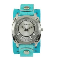 Nemesis Women's Roman Numerals Blue/Silver Leather Cuff Watch