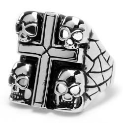 Oliveti Stainless Steel Cast Cross Skull Ring