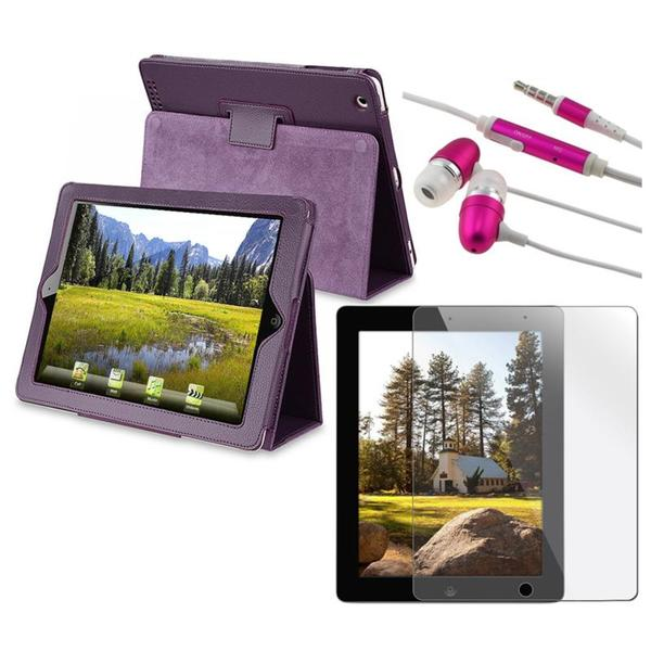 INSTEN Leather Case Cover/ Screen Protector/ Headset for Apple iPad 2