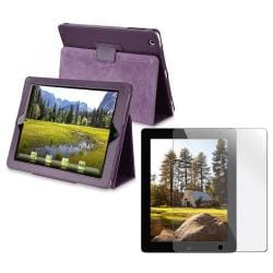 Purple Leather Case/ Screen Protector for Apple iPad 2