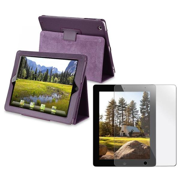 INSTEN Purple Leather Tablet Case Cover/ Screen Protector for Apple iPad 2