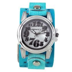 Nemesis Women's Trendy Oversized Aqua/Blue Leather Watch
