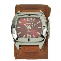 Nemesis Women's Retro Burgundy Leather Cuff Watch