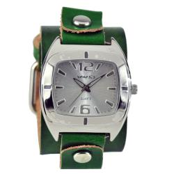 Nemesis Women's Retro Green Leather Cuff Watch
