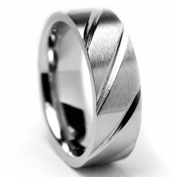 Oliveti Stainless Steel Brushed and Grooved Band