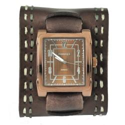 Nemesis Women's Wide Chocalate Brown Leather Watch