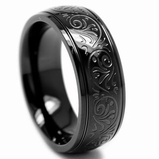 Oliveti Black-plated Stainless Steel Engraved Florentine Band