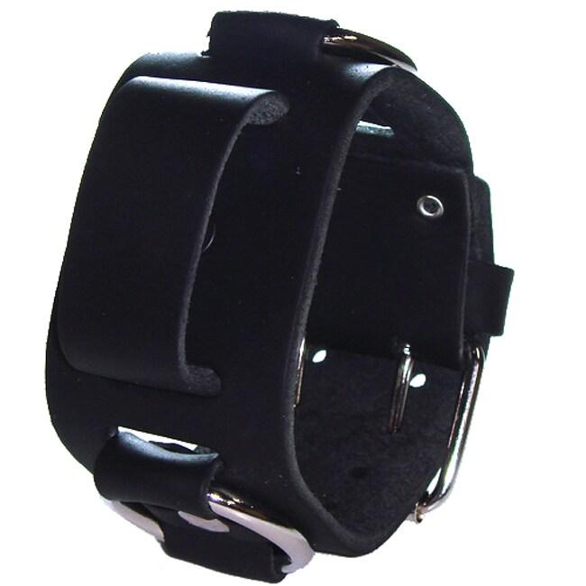 Nemesis Italian-design Metal-ring and Black-leather Watchband