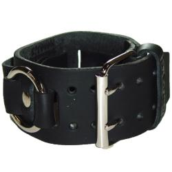 Nemesis Italian-design Metal-ring and Black-leather Watchband
