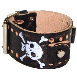 Nemesis Skull Prints Vintage Black Leather Band