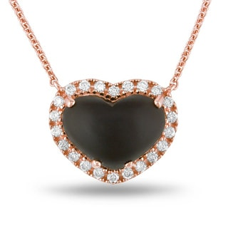 Miadora Signature Collection 14k Pink Gold Smokey Quartz and 1/3ct TDW Diamond Necklace (G-H, SI1)