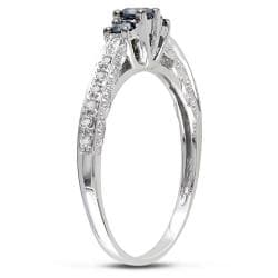 Miadora 10k Gold 1/4ct TDW Blue and White 3-Stone Diamond Ring (G-H, I2-I3)
